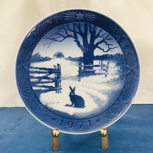 VTG Copenhagen 1971 Hare in Winter Collector Plate